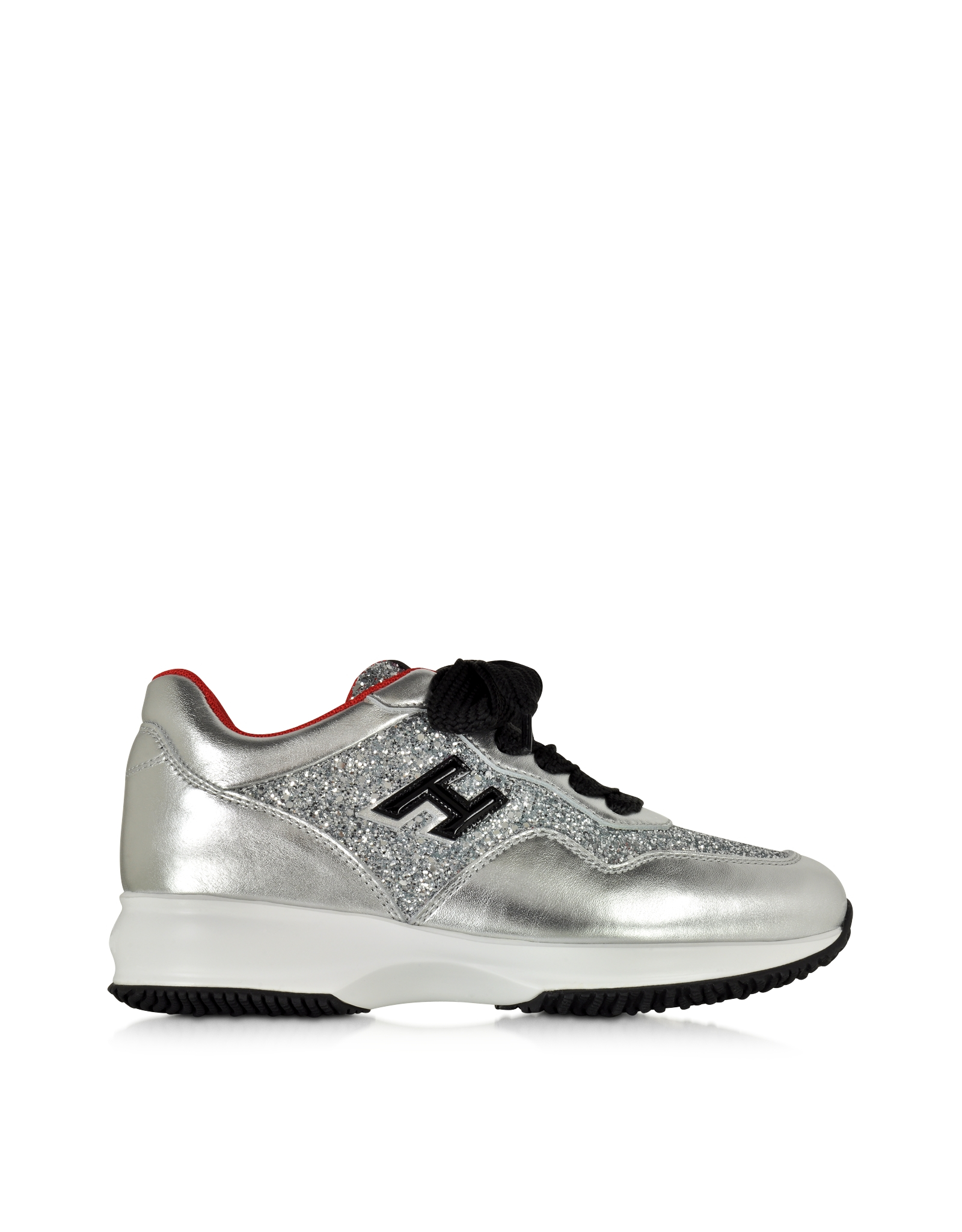 hogan club silver leather and glitter wedge sneakers in metallic lyst. Black Bedroom Furniture Sets. Home Design Ideas