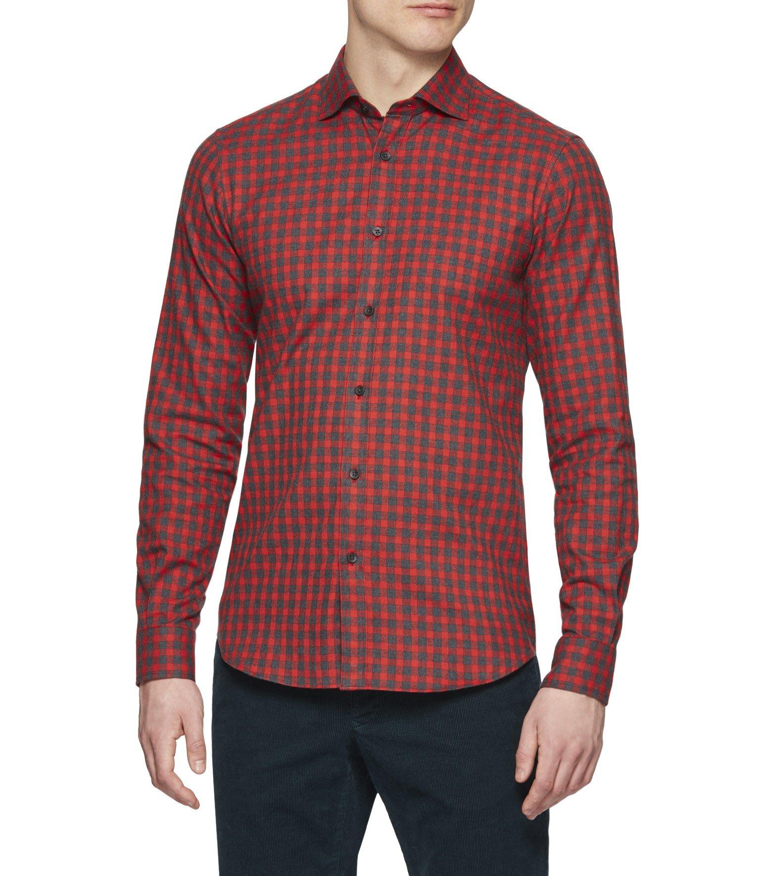 ermenegildo zegna red blue washed macro check shirt in blue for men red lyst. Black Bedroom Furniture Sets. Home Design Ideas