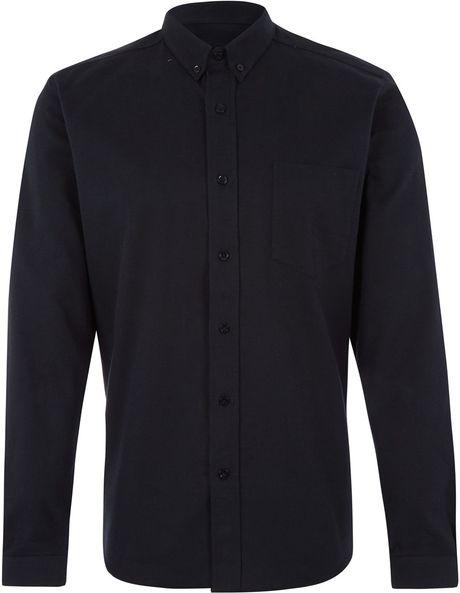 Ami black button down winter oxford cotton shirt in black for Black oxford button down shirt