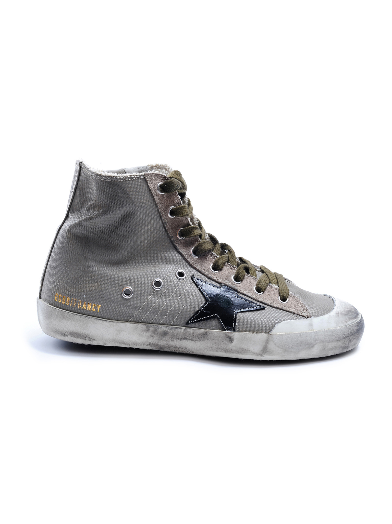 golden goose deluxe brand francy leather and canvas high top sneakers in gray for men grey pen. Black Bedroom Furniture Sets. Home Design Ideas