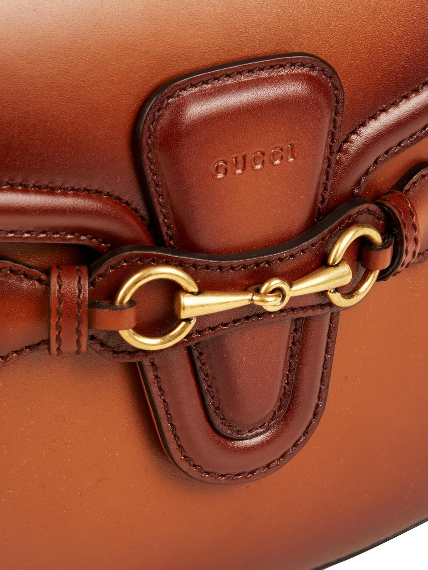 b9994f6c4798d0 Gucci Lady Web Medium Leather Shoulder Bag in Brown - Lyst