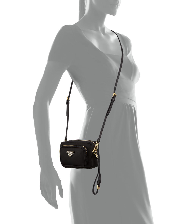 43566d055fdc Prada Tessuto Small Pocket Crossbody Bag in Black - Lyst