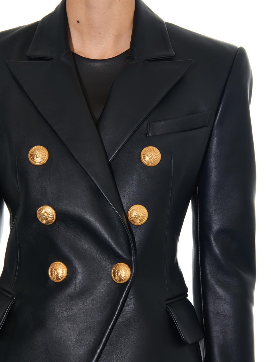 75d7b60c Balmain Double-Breasted Leather Blazer in Black - Lyst