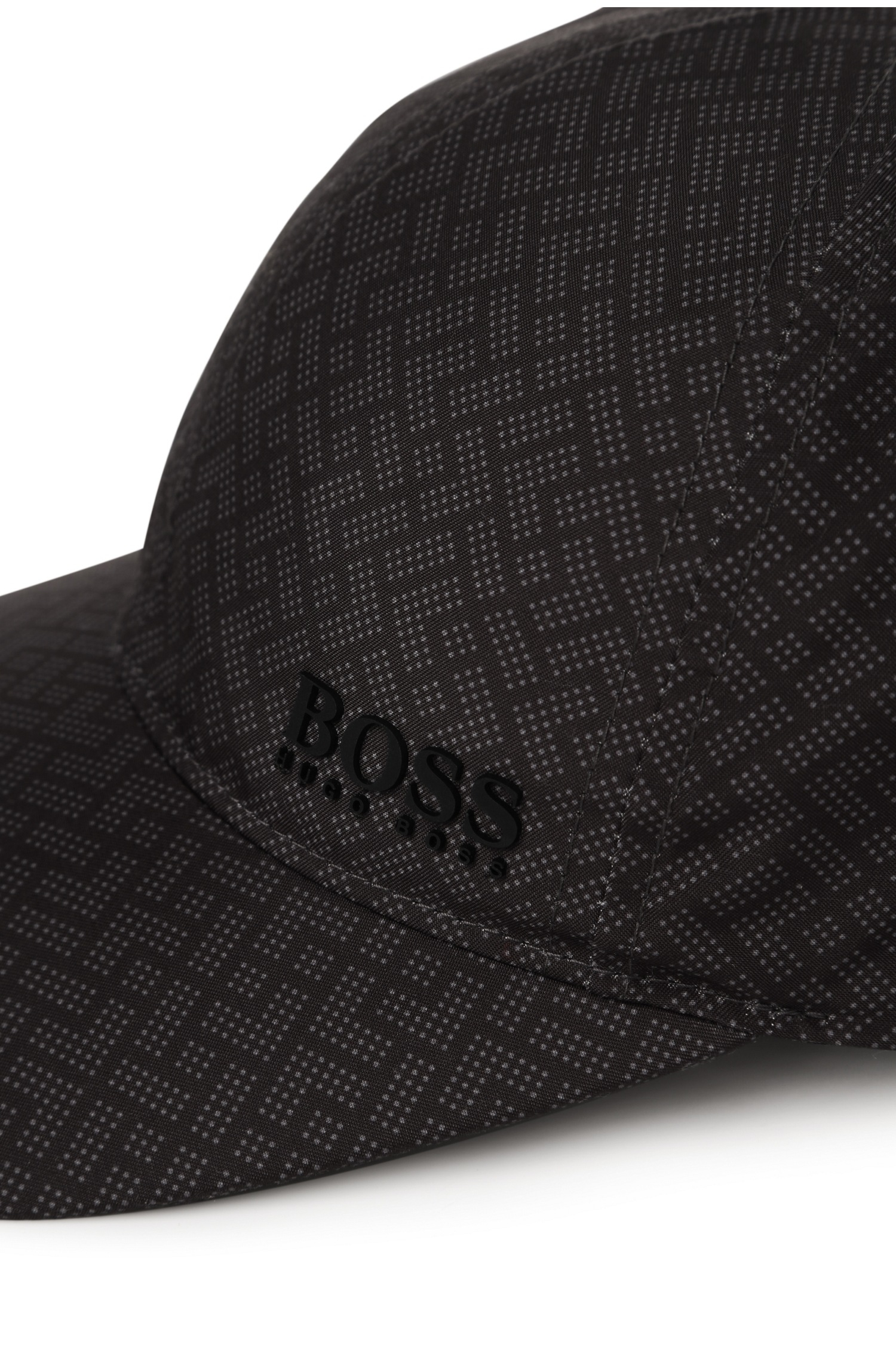 BOSS Green Baseball Cap With Graphic Print   brick Cap  in Black for ... 00e4f359331
