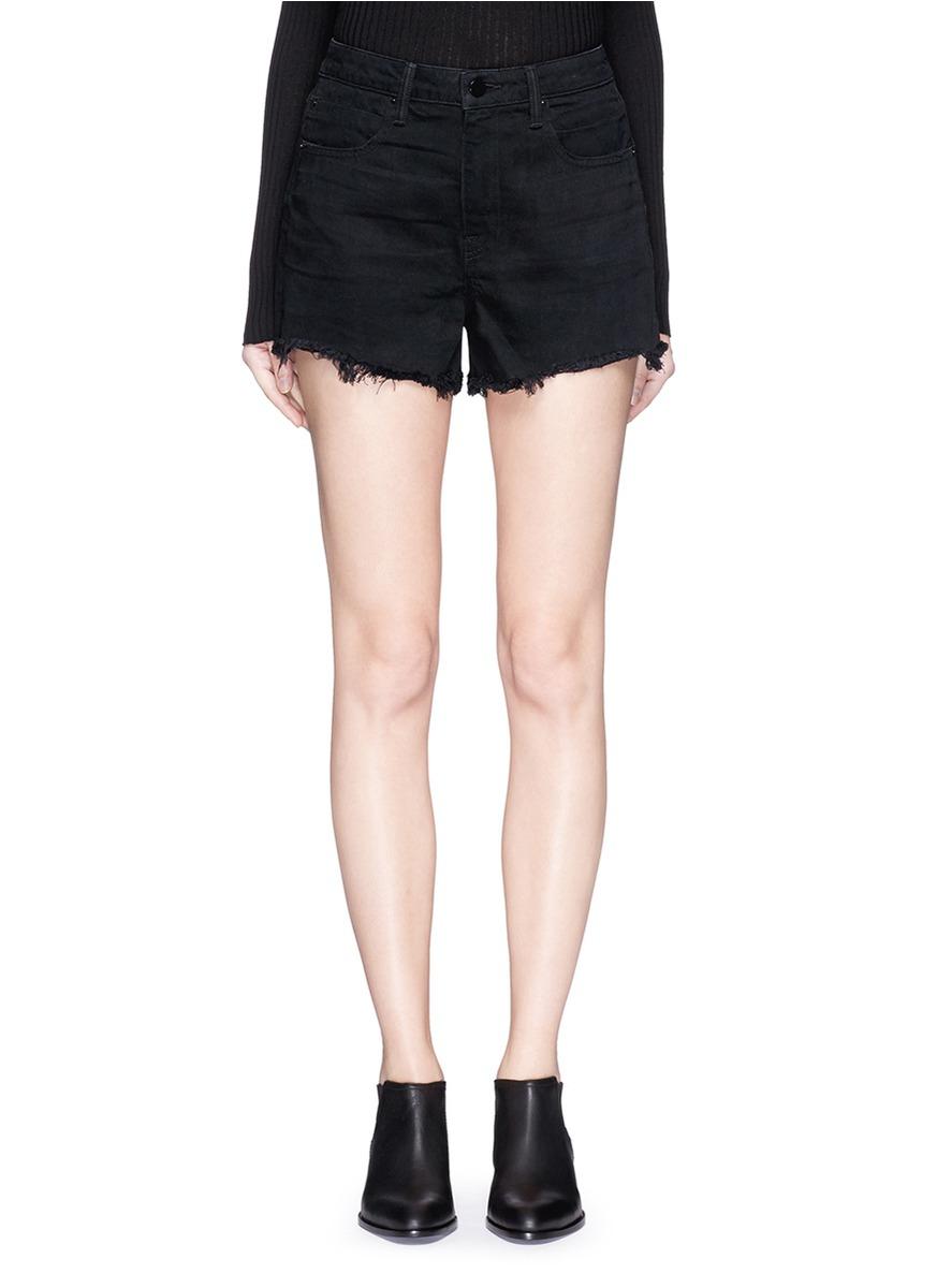 d61161435a19 Alexander Wang  bite  Frayed Cuff Denim Shorts in Black - Lyst