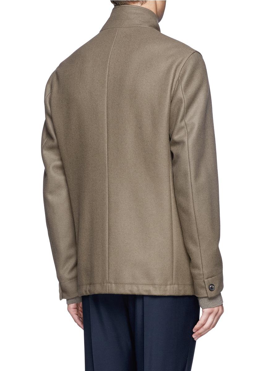 Mauro grifoni rib knit cuff insert felt blazer in brown for Mens shirts with cufflink holes