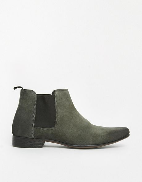 asos chelsea boots in suede in gray for grey lyst