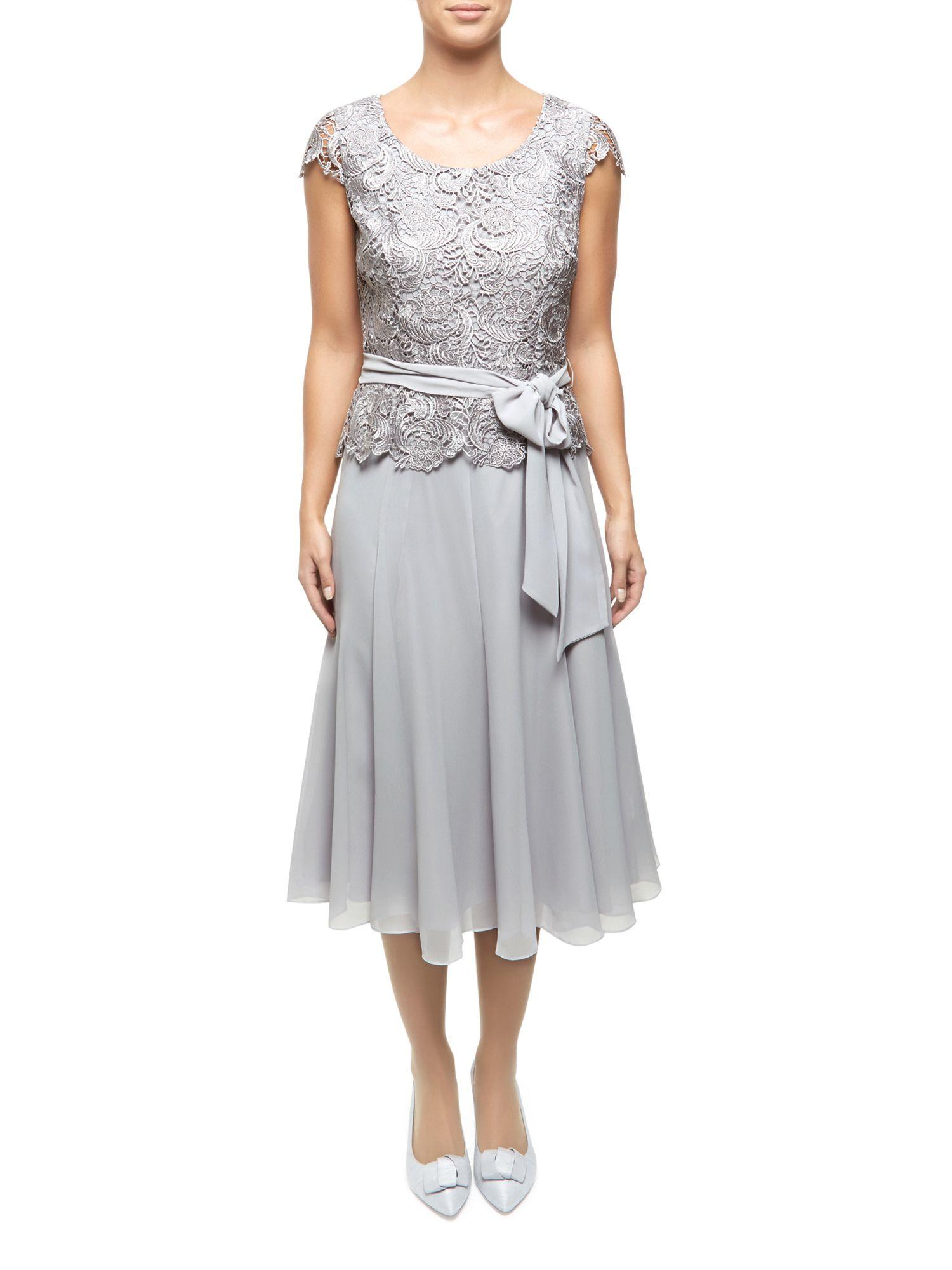 Jacques Vert Lace Bodice Chiffon Dress In Light Grey Gray