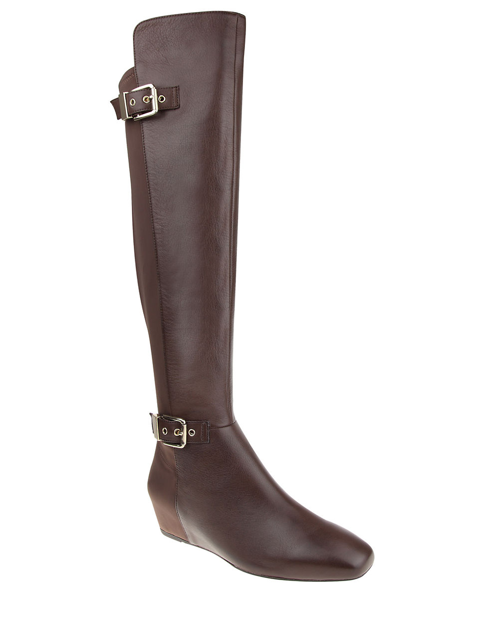 floriane leather the knee wedge boots in brown