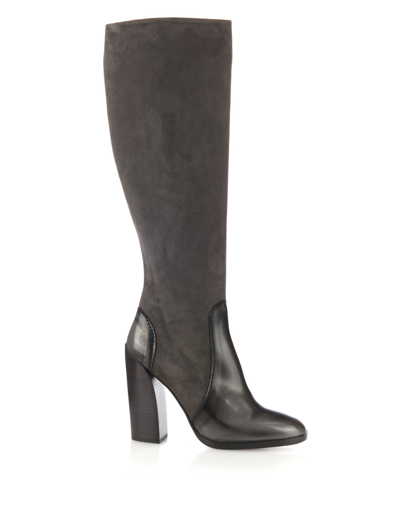 Lyst Jil Sander Suede And Leather Knee High Boots In Gray