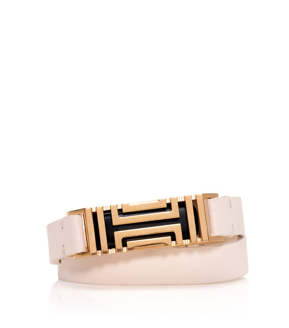 Burch for fitbit fret double wrap bracelet in beige light oak