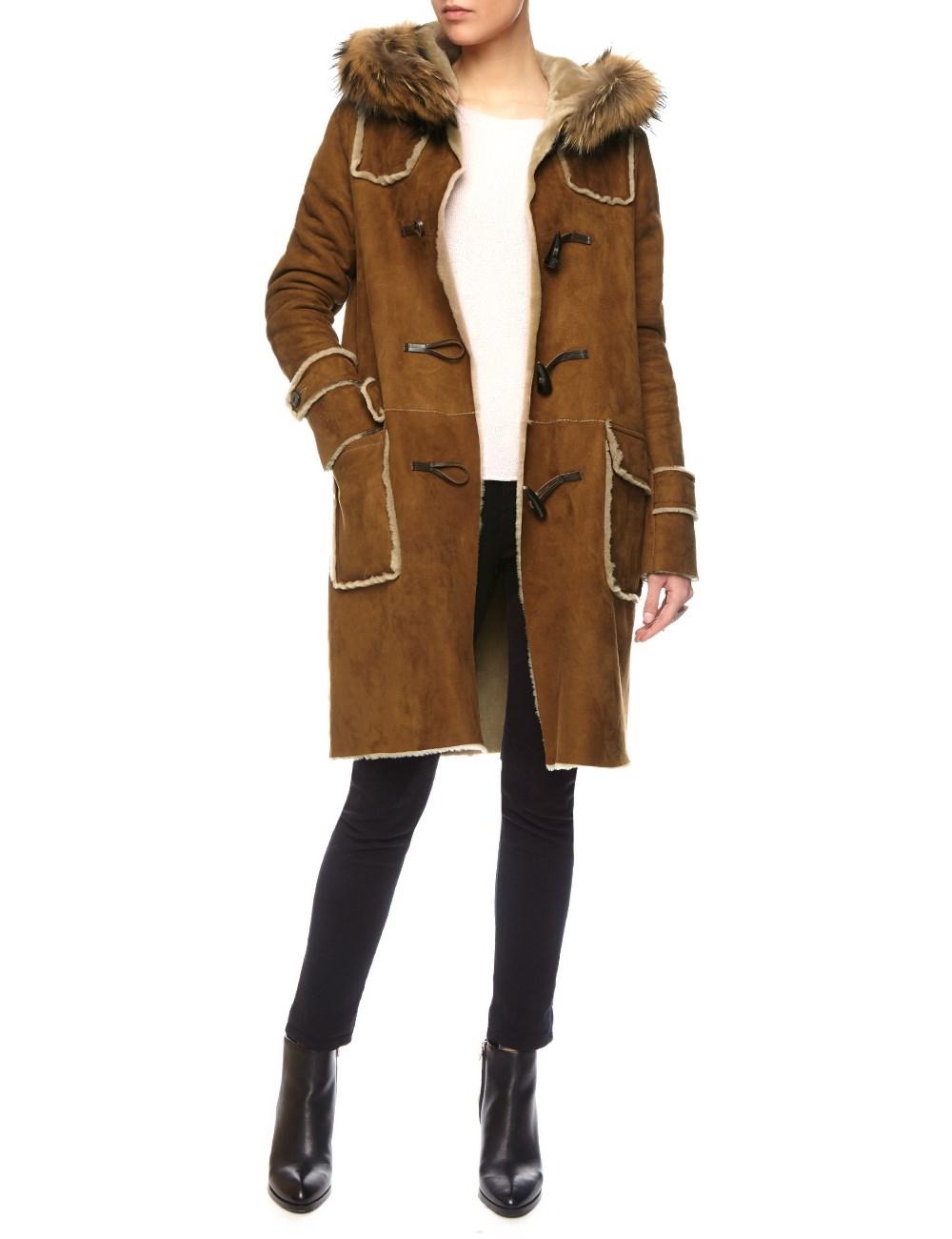 Dlux Biscuit Merino Shearling Duffle Coat in Brown | Lyst