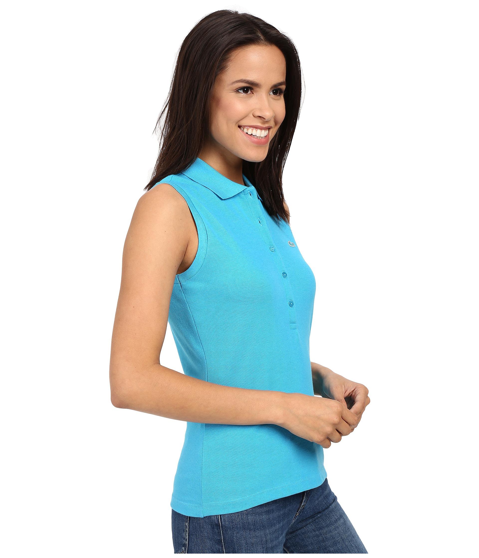 Lacoste Stretch Fit Pique Shirt Blue Slim Sleeveless Polo cF1KJl