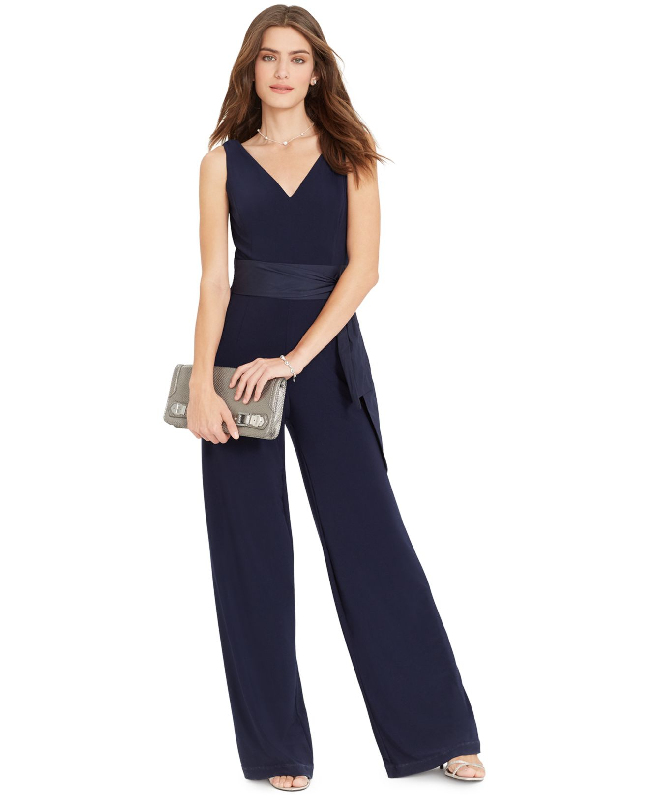 a458d53e3b27 Lyst - Lauren by Ralph Lauren Sleeveless Wide-Leg Jumpsuit in Blue