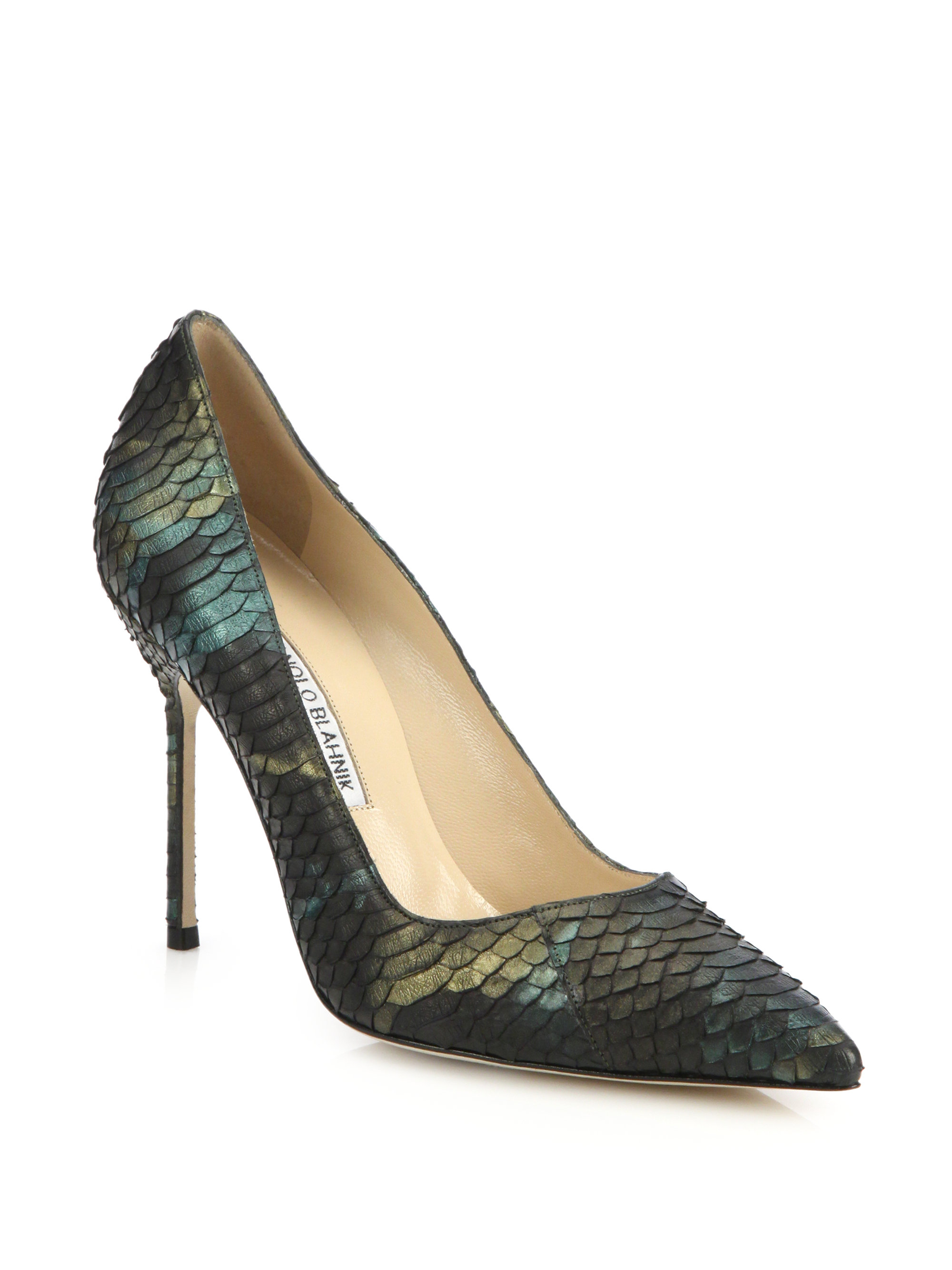 Lyst Manolo Blahnik Bb 105 Iridescent Snakeskin Pumps In