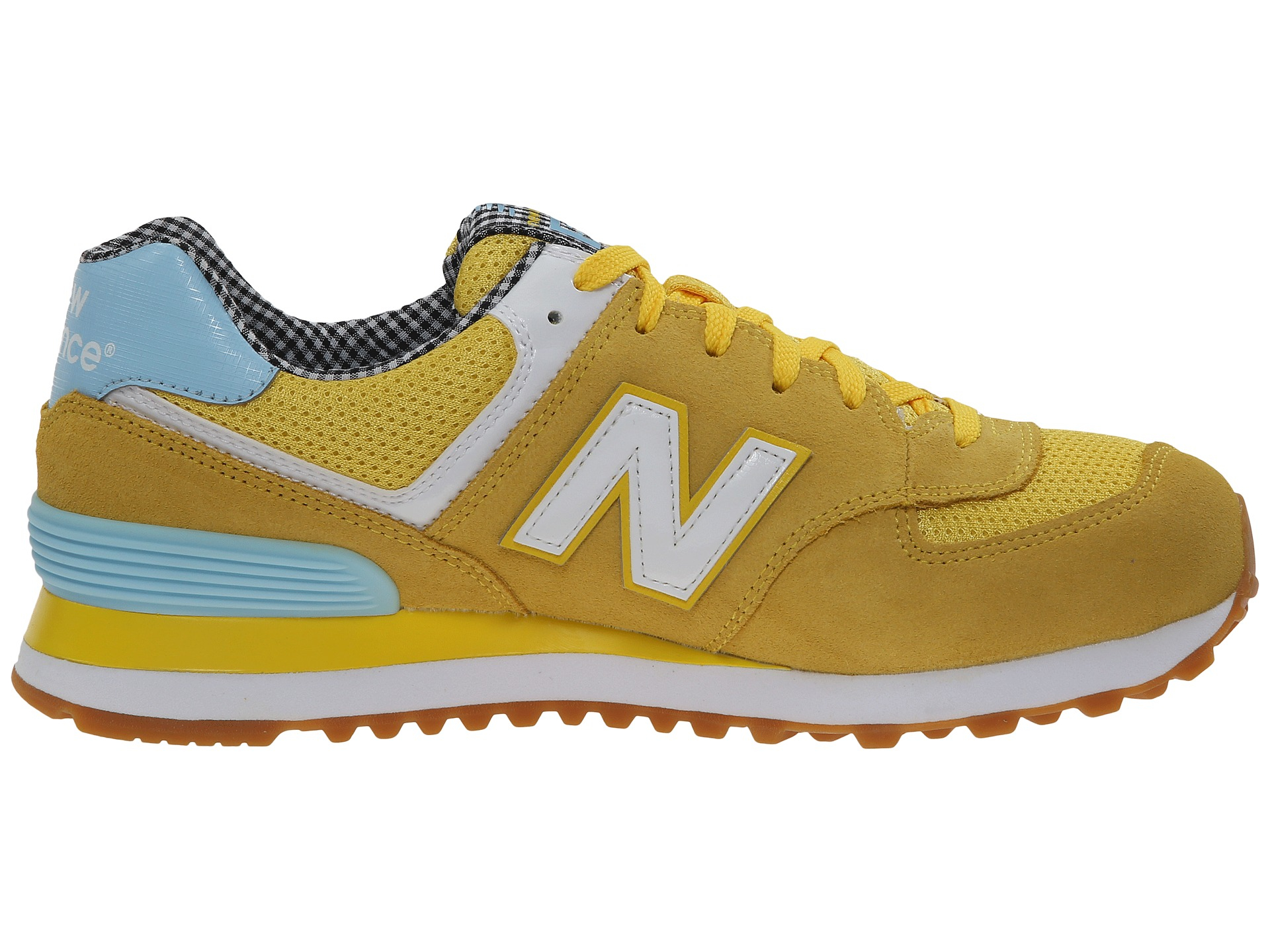 new balance wl574 picnic collection in yellow yellow white suede mesh lyst. Black Bedroom Furniture Sets. Home Design Ideas