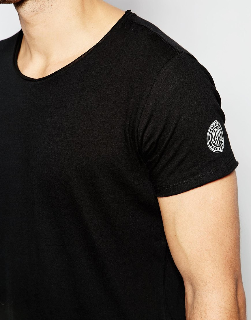 Replay T Shirt Wide Neck Laser Cut In Washed Black In