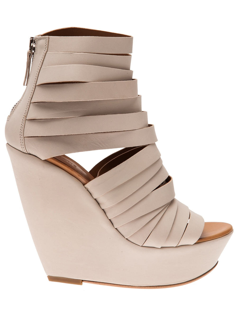 Vic Mati 233 Strappy Wedge Sandal In White Natural Lyst
