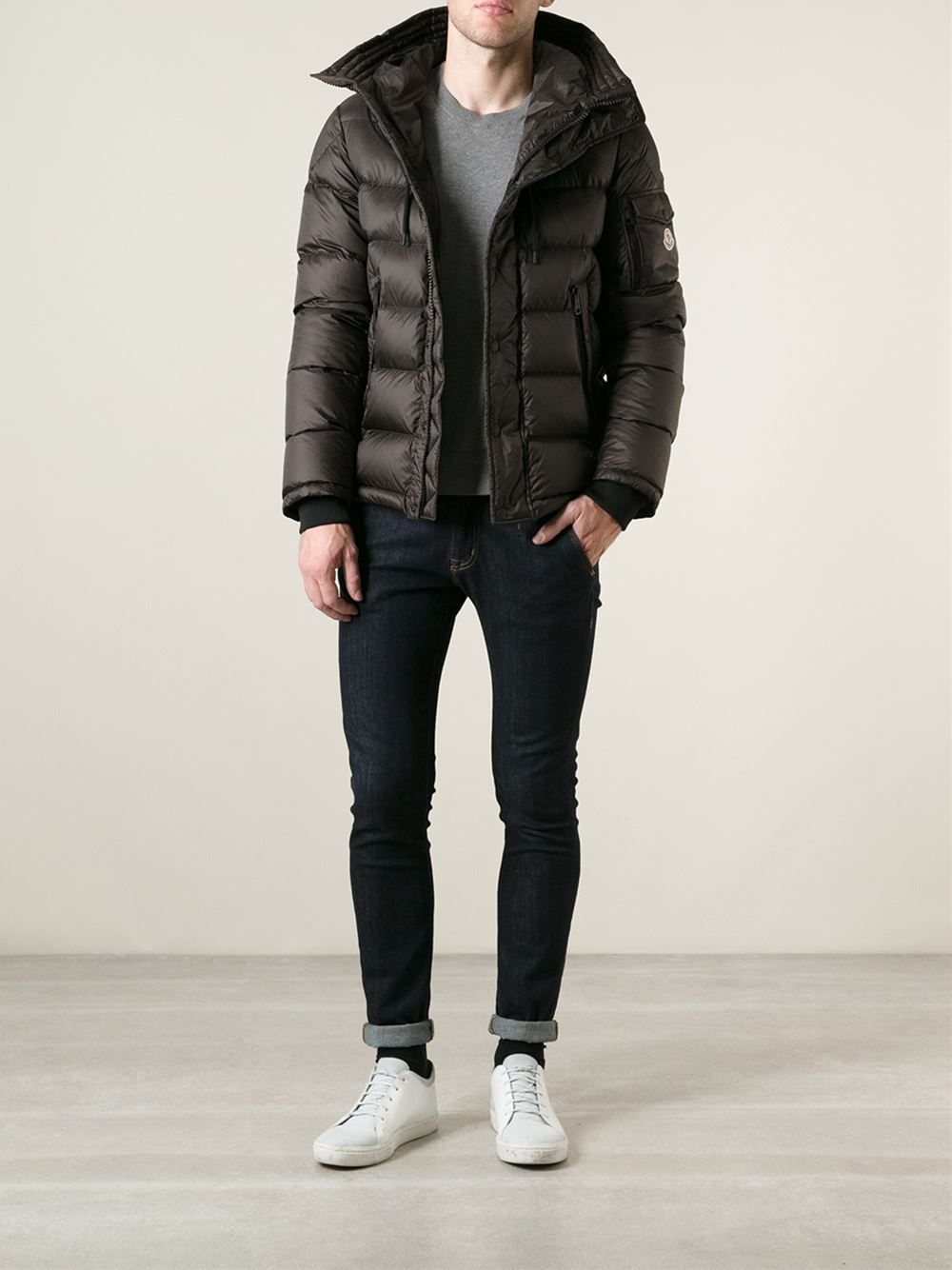 Moncler Basile Padded Jacket in Brown for Men