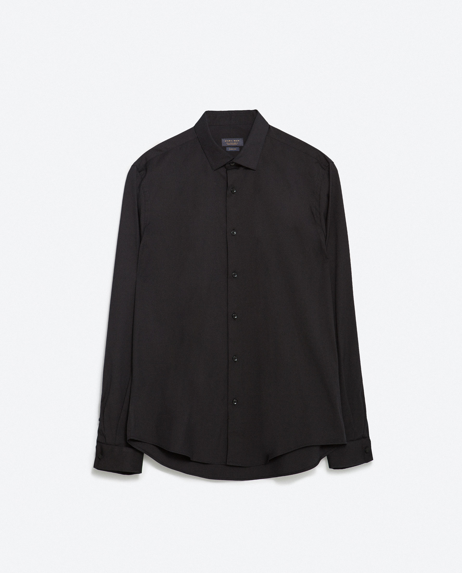 Zara shirt with double cuffs in black for men lyst for Zara mens shirts sale
