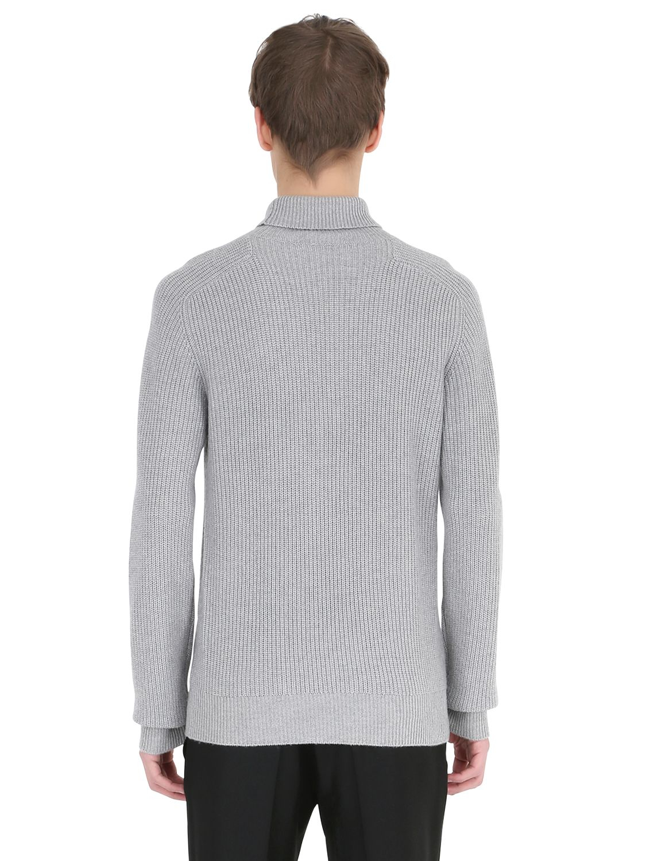 Emporio Armani Wool Blend Turtleneck Sweater In Pearl Grey