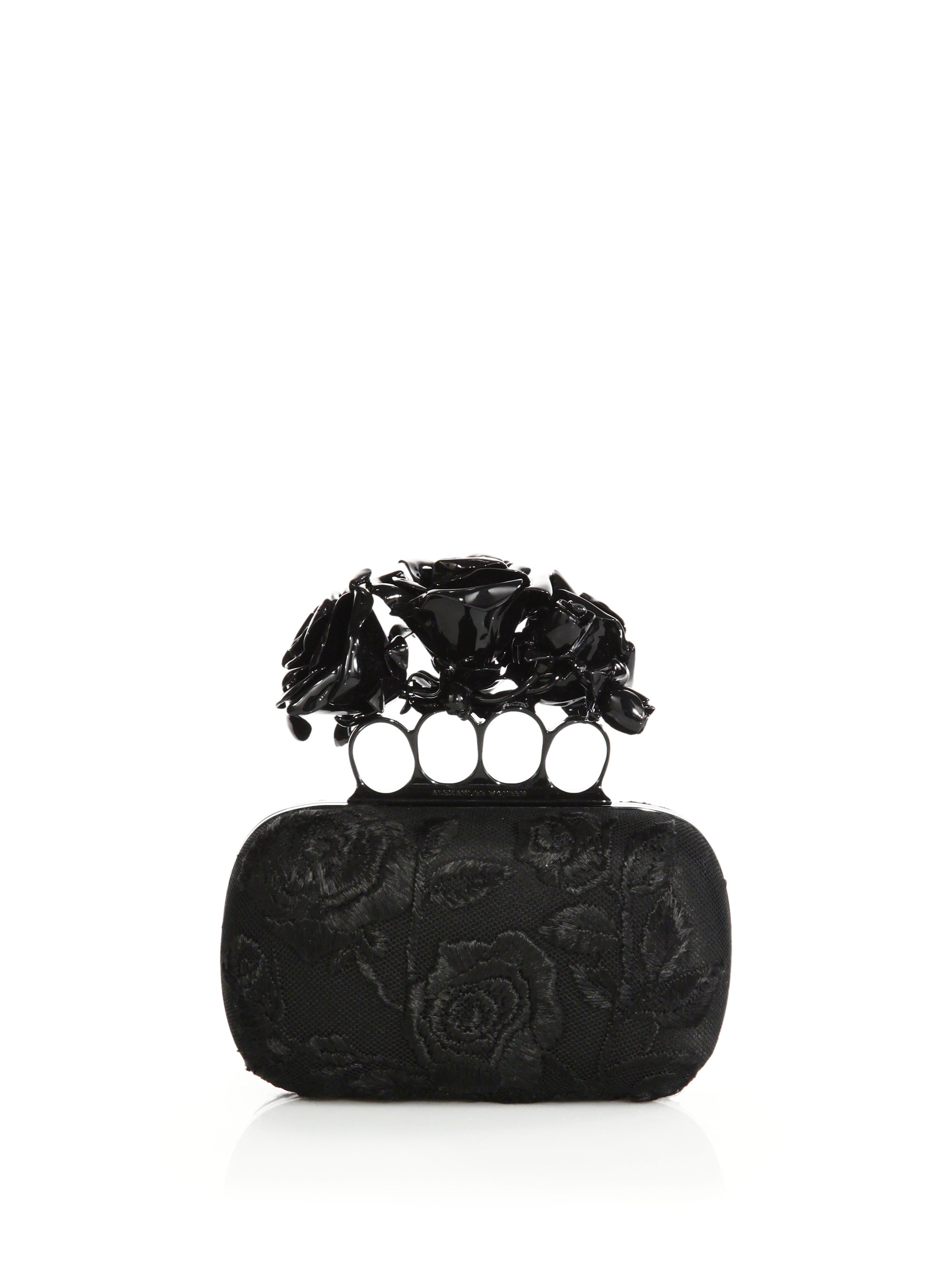 f508274cc62b1 Alexander McQueen Rose-embroidered Silk Knuckle Box Clutch in Black ...