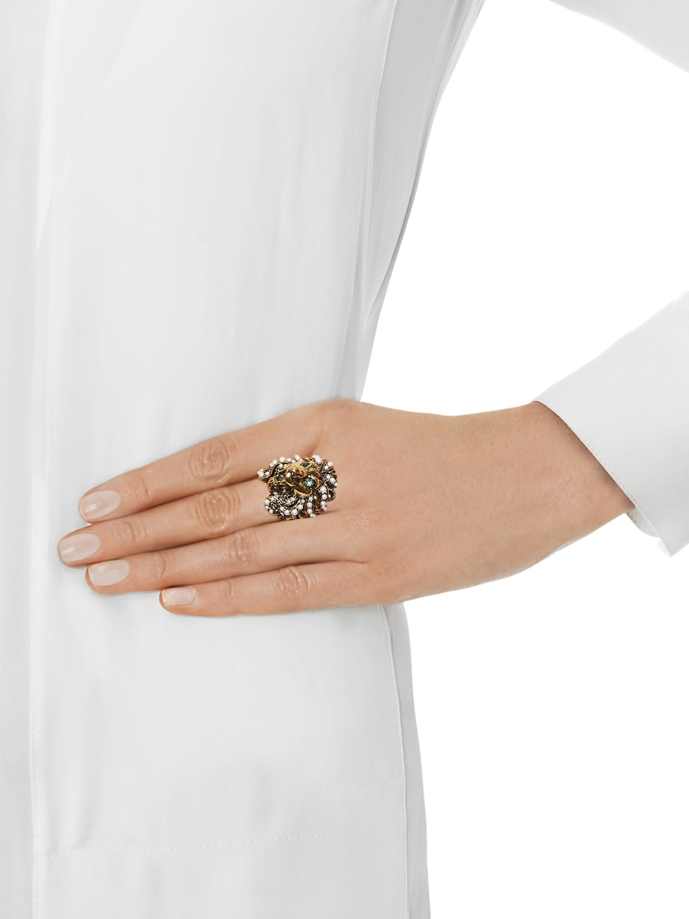 Gucci Pearl-embellished ring EioHw2j
