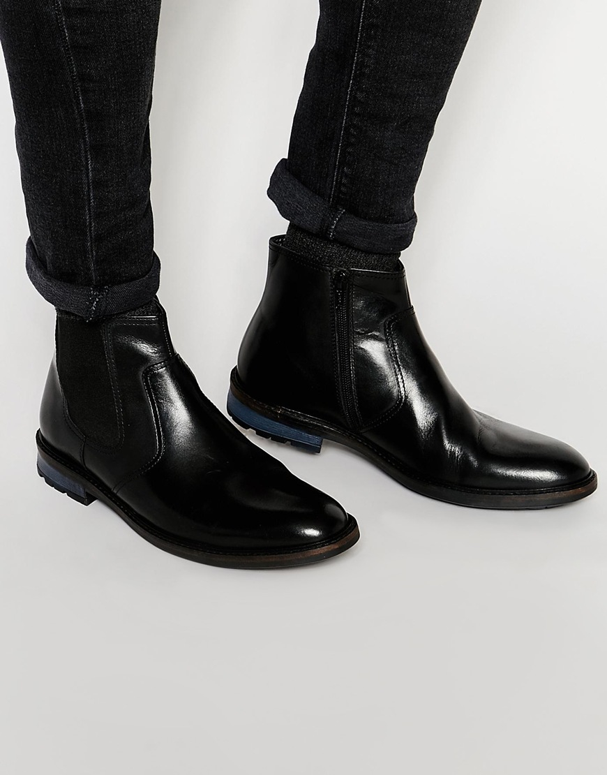 8ed7cb7bc8f02 Lyst - Dune Chunky Chelsea Boot In Black Leather in Black for Men