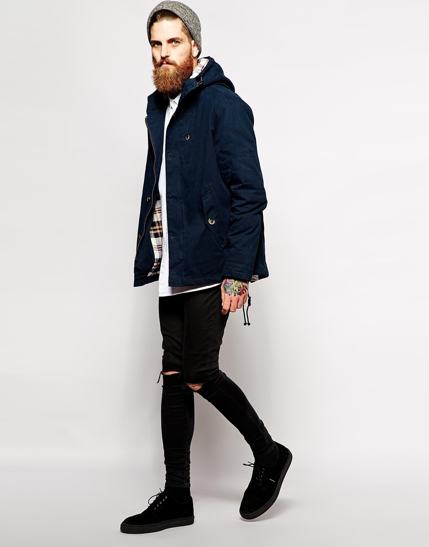 Parka london Hudson Jacket in Blue for Men | Lyst