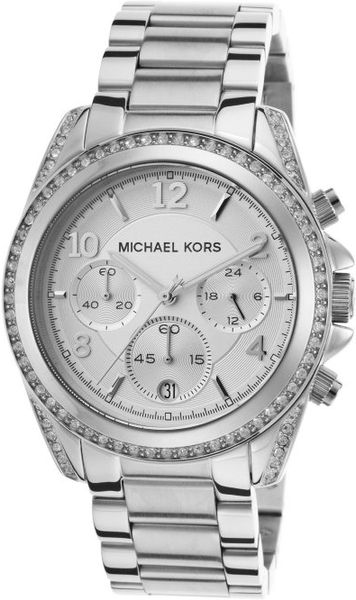 michael kors womens chronograph white crystal stainless. Black Bedroom Furniture Sets. Home Design Ideas