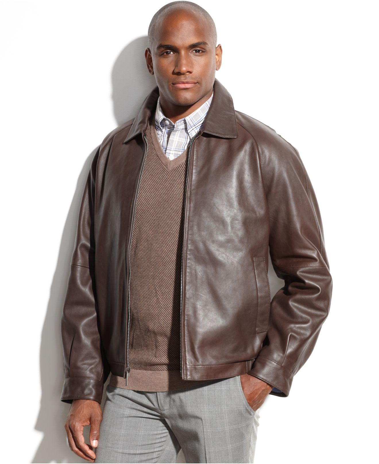 c5bccf609 Perry Ellis Brown Portfolio Big And Tall Leather Bomber Jacket for men
