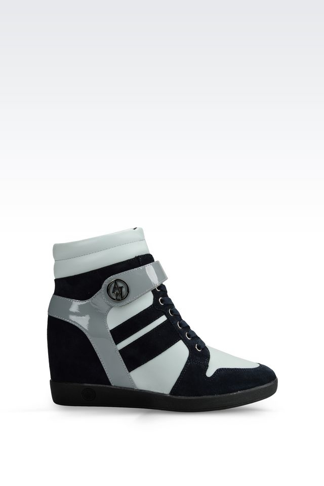 armani jeans high top sneaker in leather with wedge in gray lyst. Black Bedroom Furniture Sets. Home Design Ideas