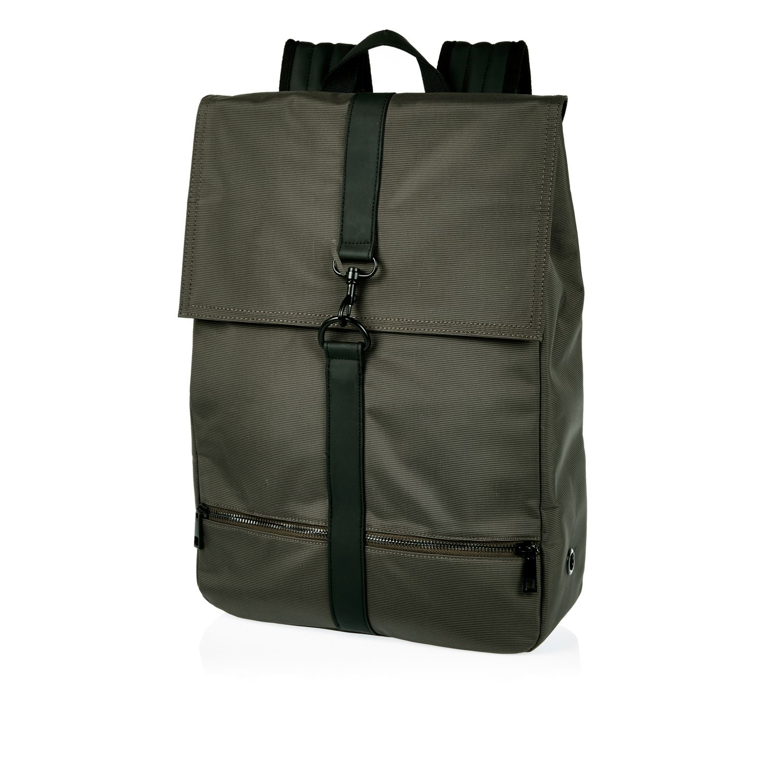 River Island Synthetic Green Clip Front Backpack for Men