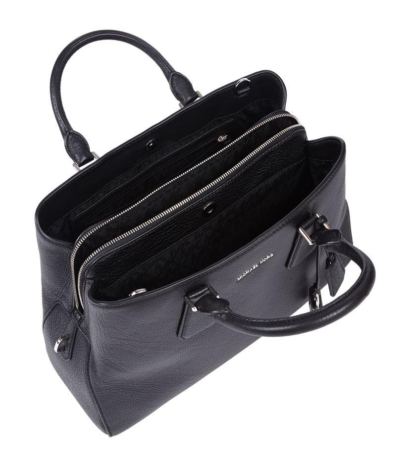 michael michael kors large camille satchel in black lyst. Black Bedroom Furniture Sets. Home Design Ideas