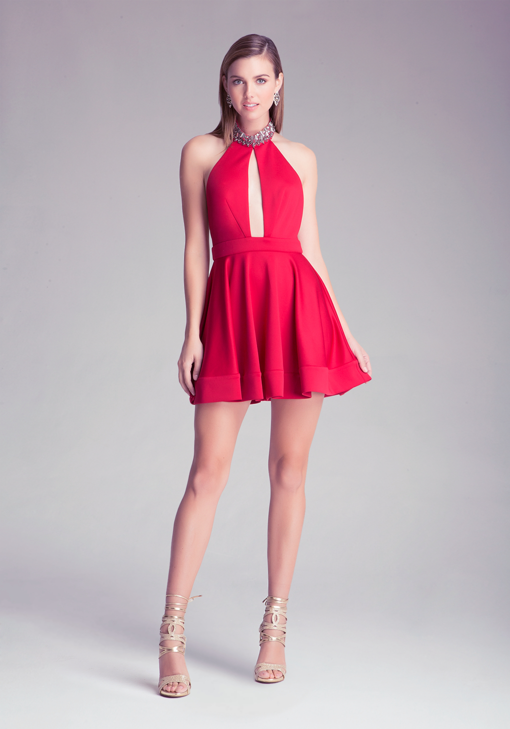 Bebe Embellished Halter Dress In Red Lyst