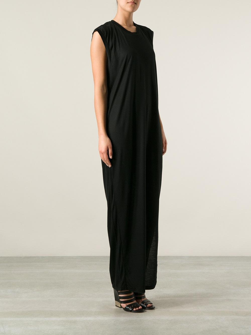 Acne Draped Back Maxi Dress in Black - Lyst