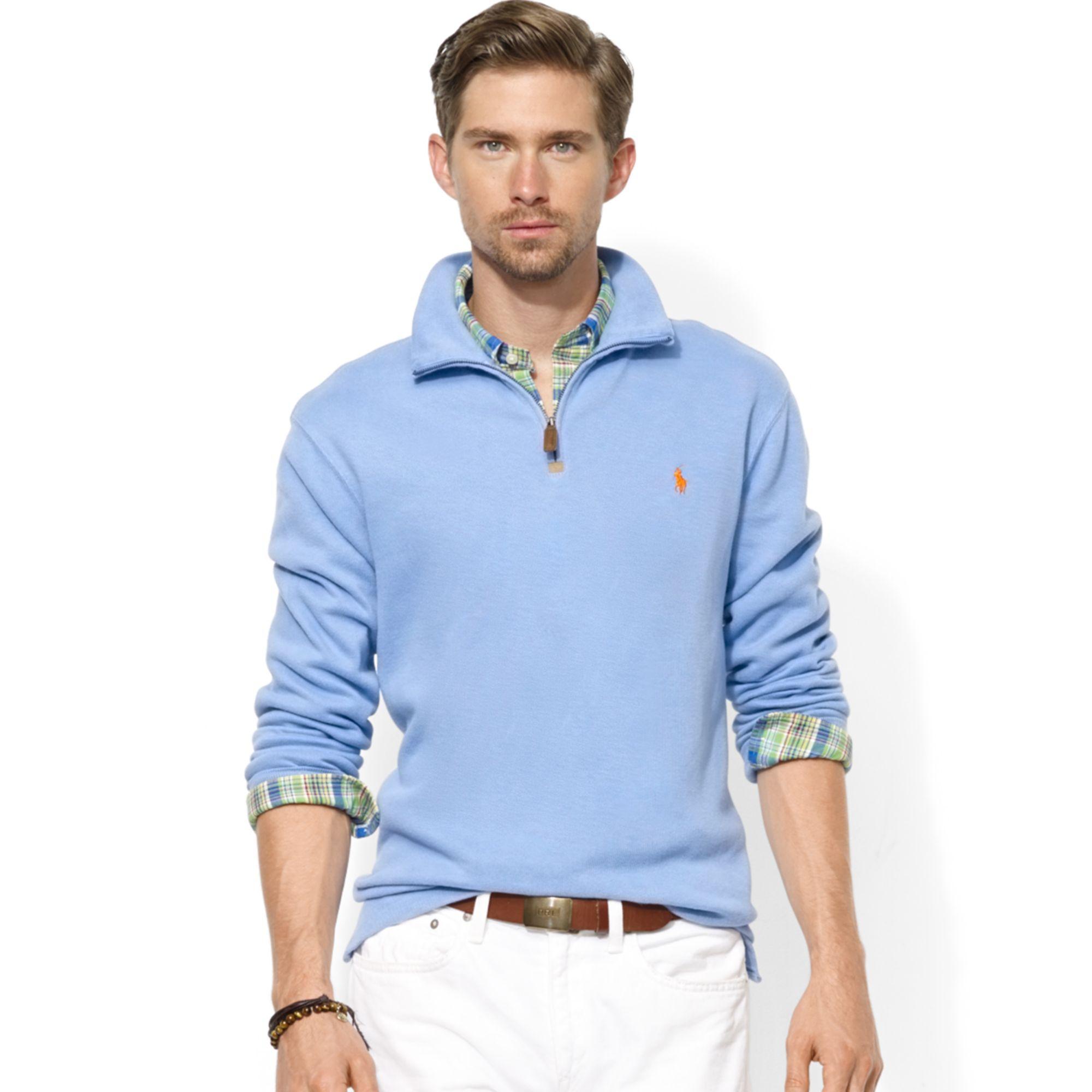 Zip Half Pullover Lauren Neck Rib Ralph Blue For Men Mock French vNw8Omn0