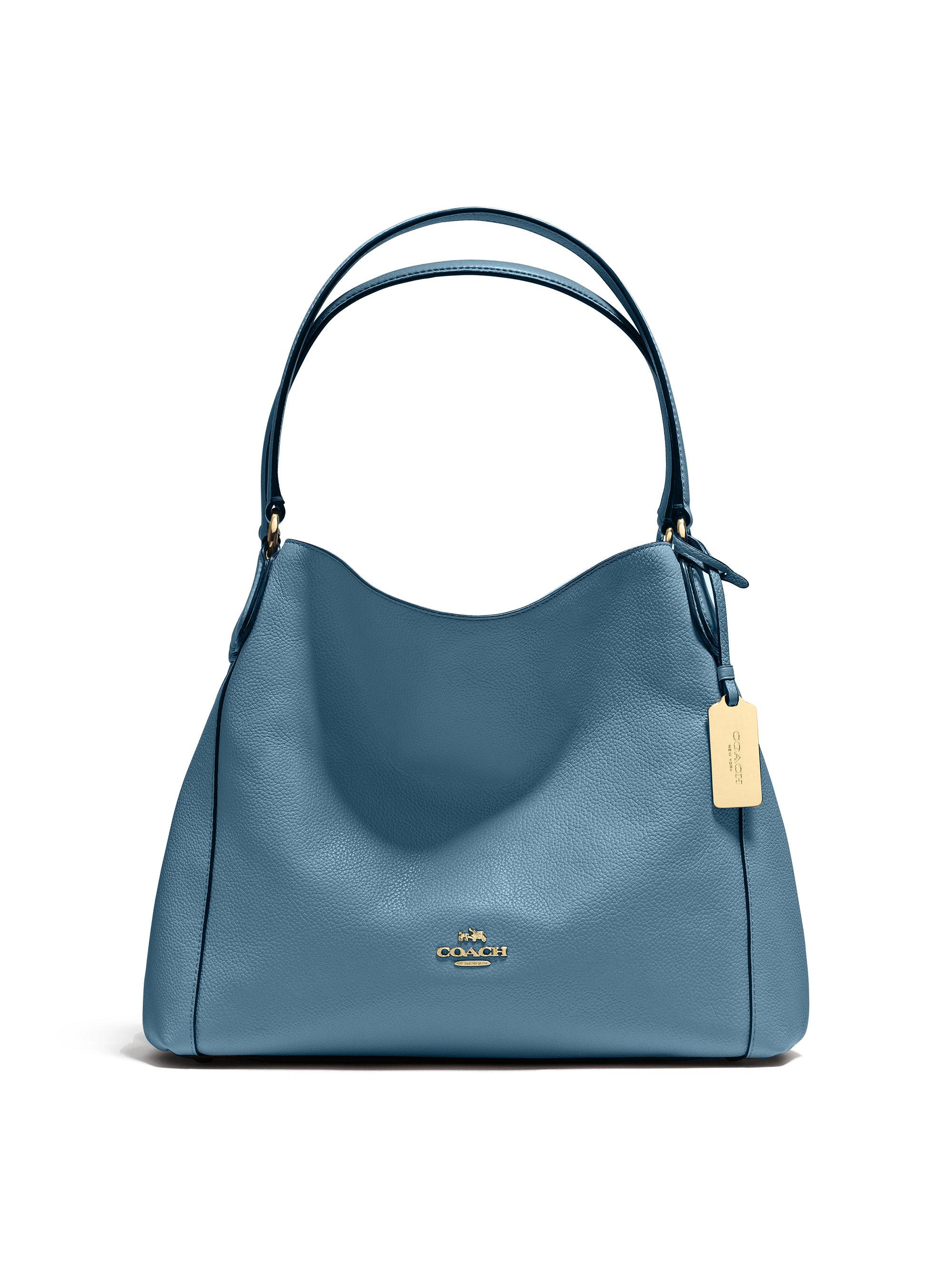 Coach Edie Pebbled Leather Shoulder Bag in Blue | Lyst