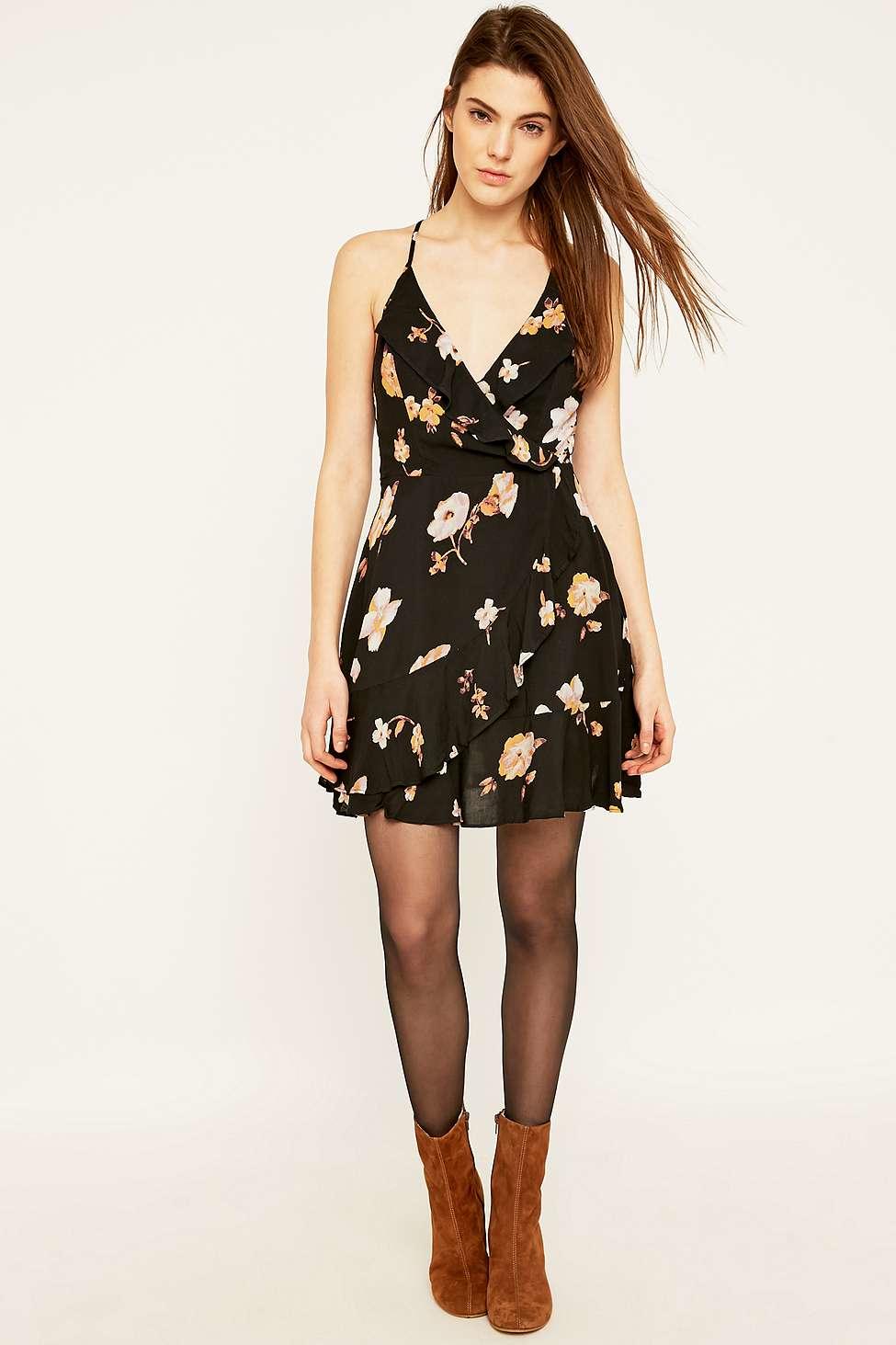 Kimchi Blue Sabina Black Ruffle Wrap Floral Mini Dress Lyst