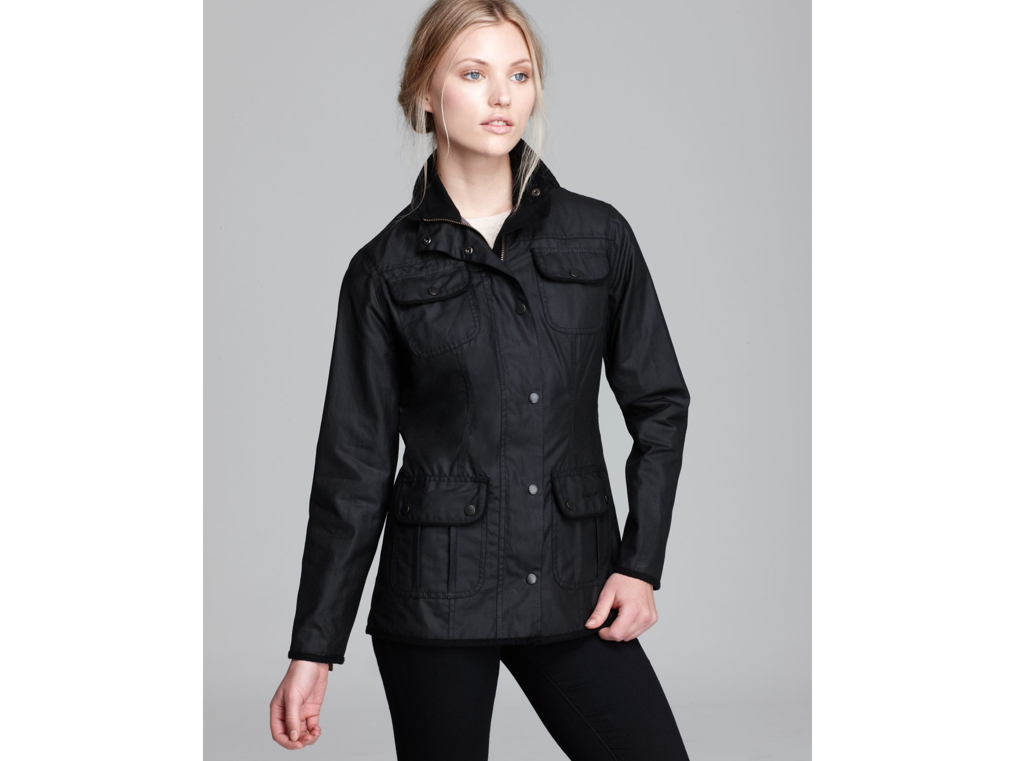 Barbour Utility Lightweight Waxed Cotton Jacket in Black | Lyst