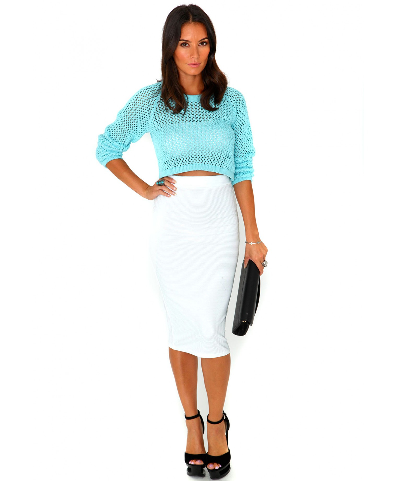 missguided jeania ribbed bodycon midi skirt in white in