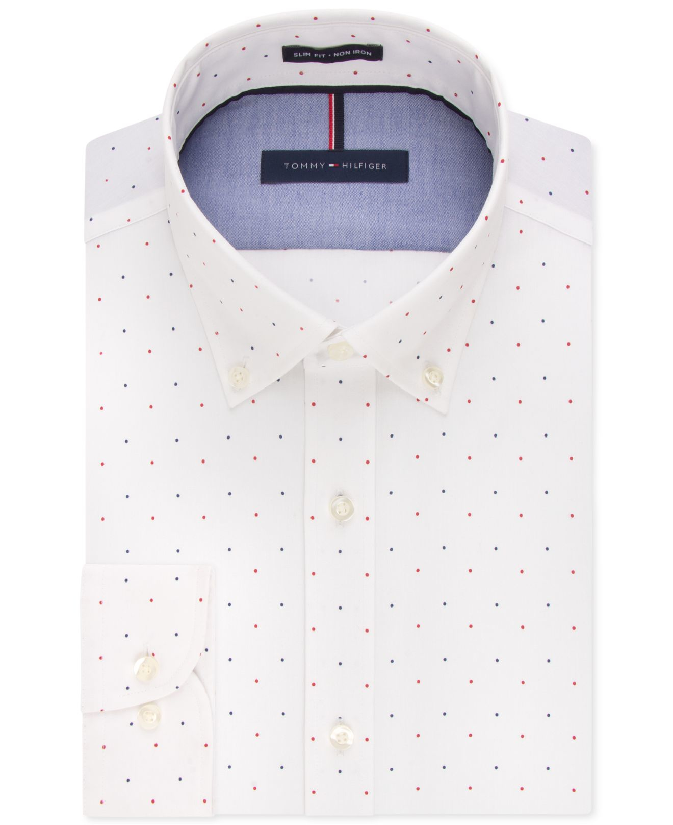 tommy hilfiger slim fit non iron soft wash red white and