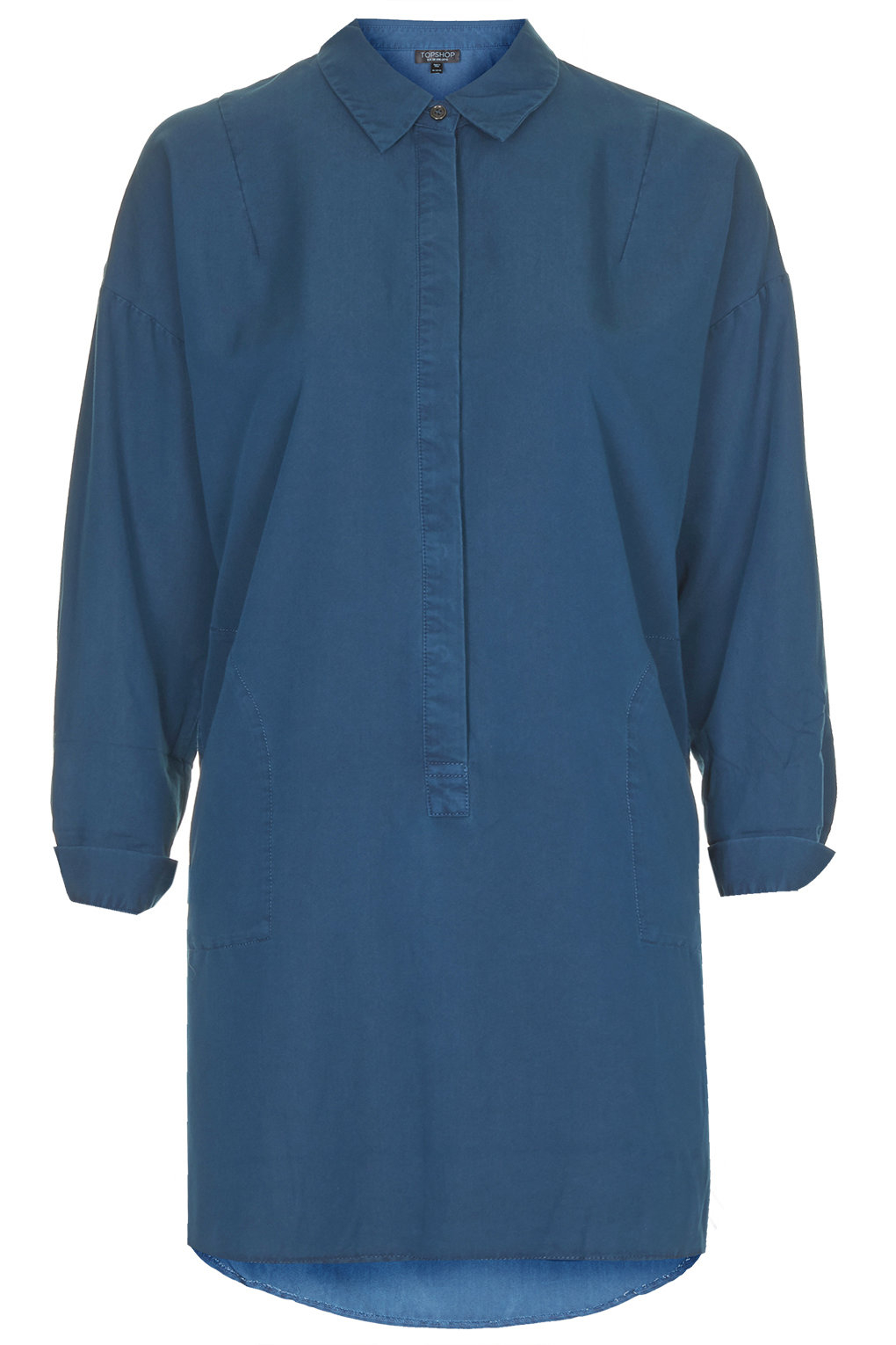 Topshop womens relaxed shirt dress indigo in blue lyst for Womens denim shirts topshop