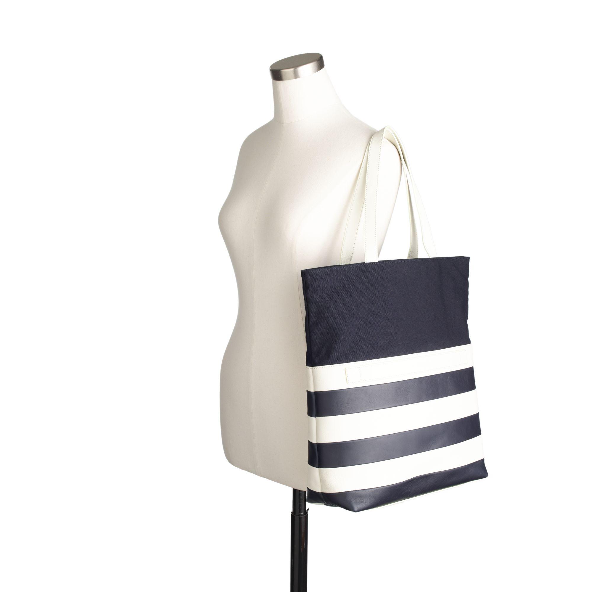 J.Crew Want Les Essentiels De La Vie For Stripe Medium Twoway Tote in Navy White Stripe (Blue)