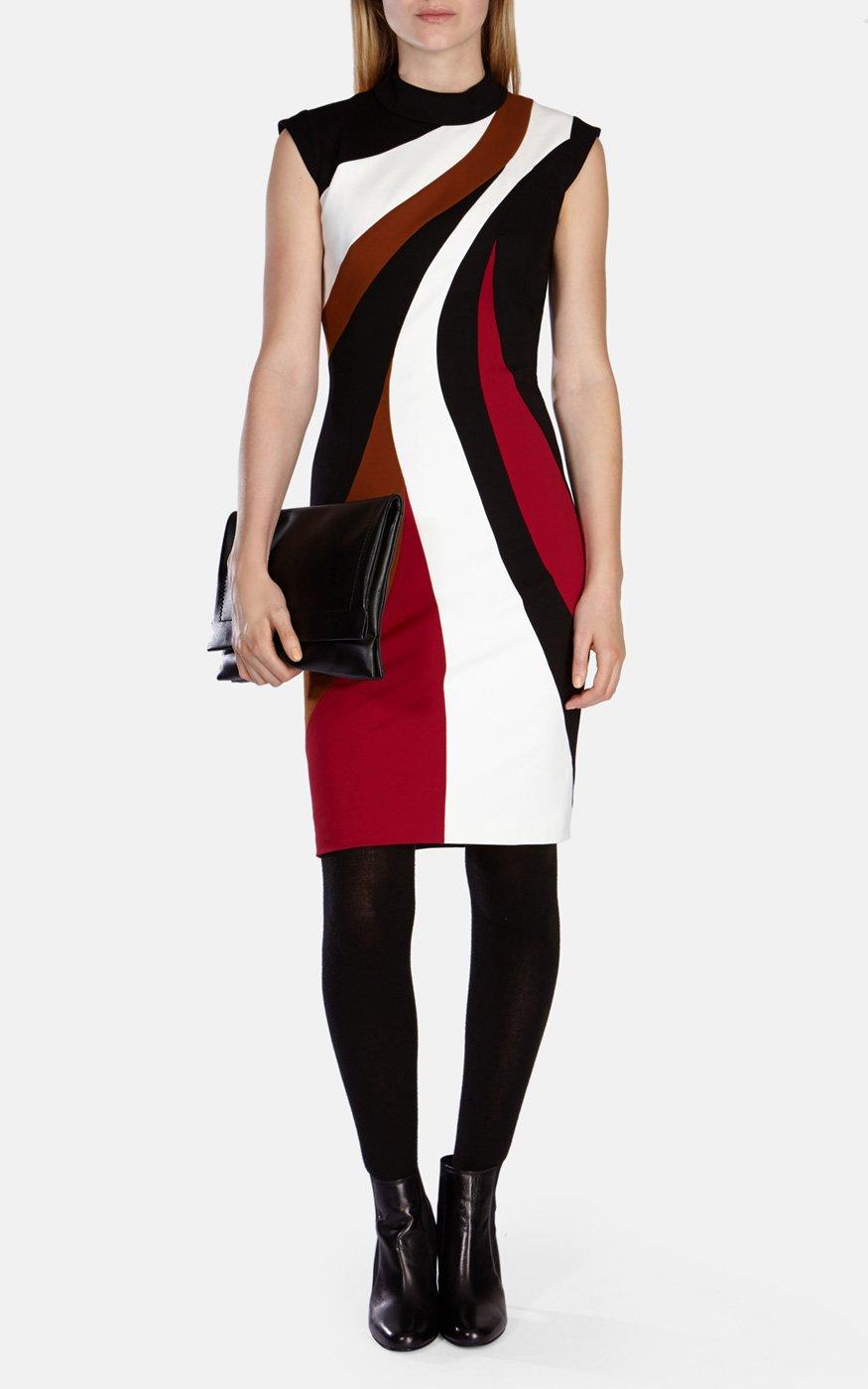 fdaa903ee3 Karen Millen Colour-blocked Pencil Dress in Black - Lyst