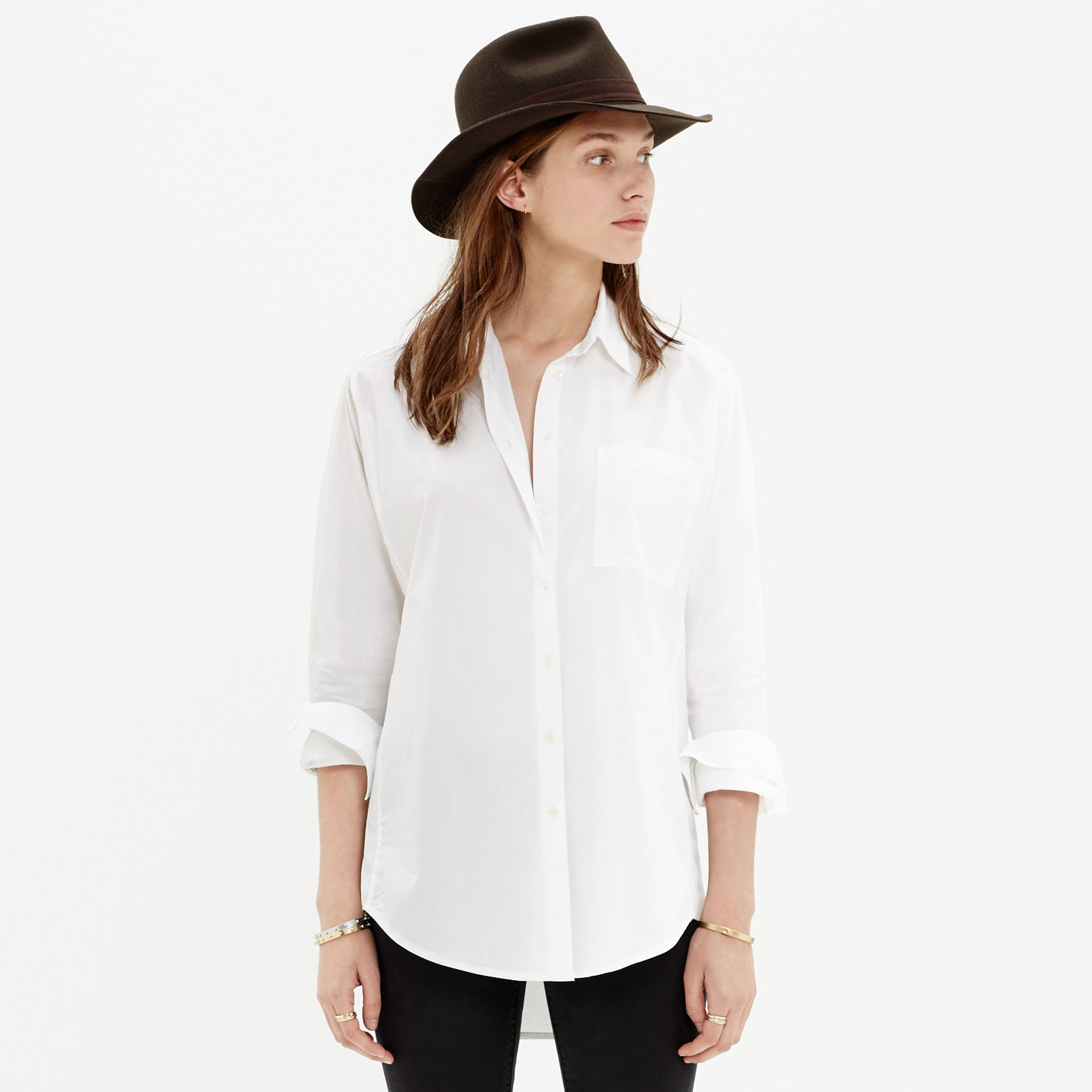 madewell oversized button down shirt in white lyst