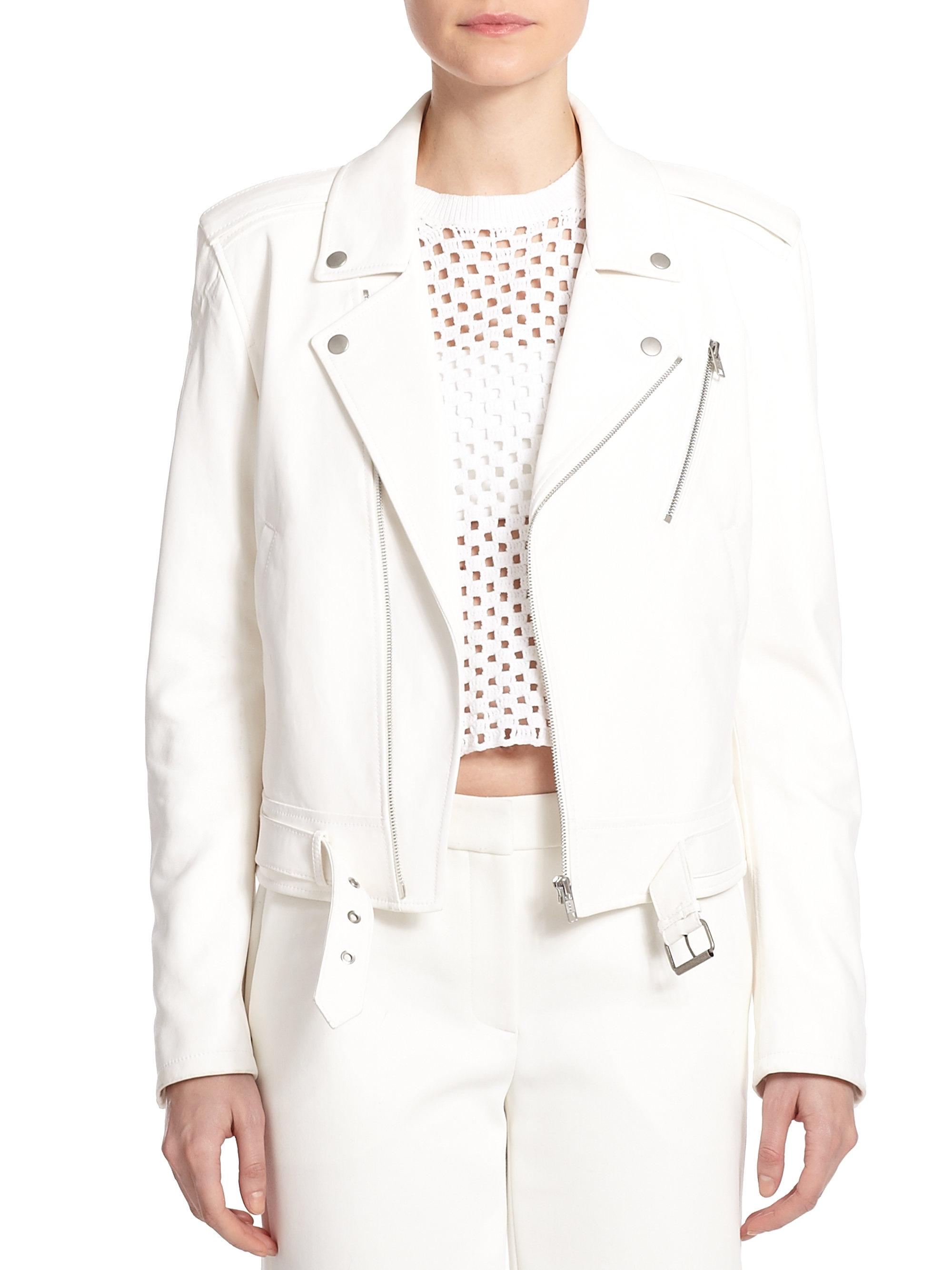 1fad306e Theory Sahral Leather Moto Jacket in White - Lyst