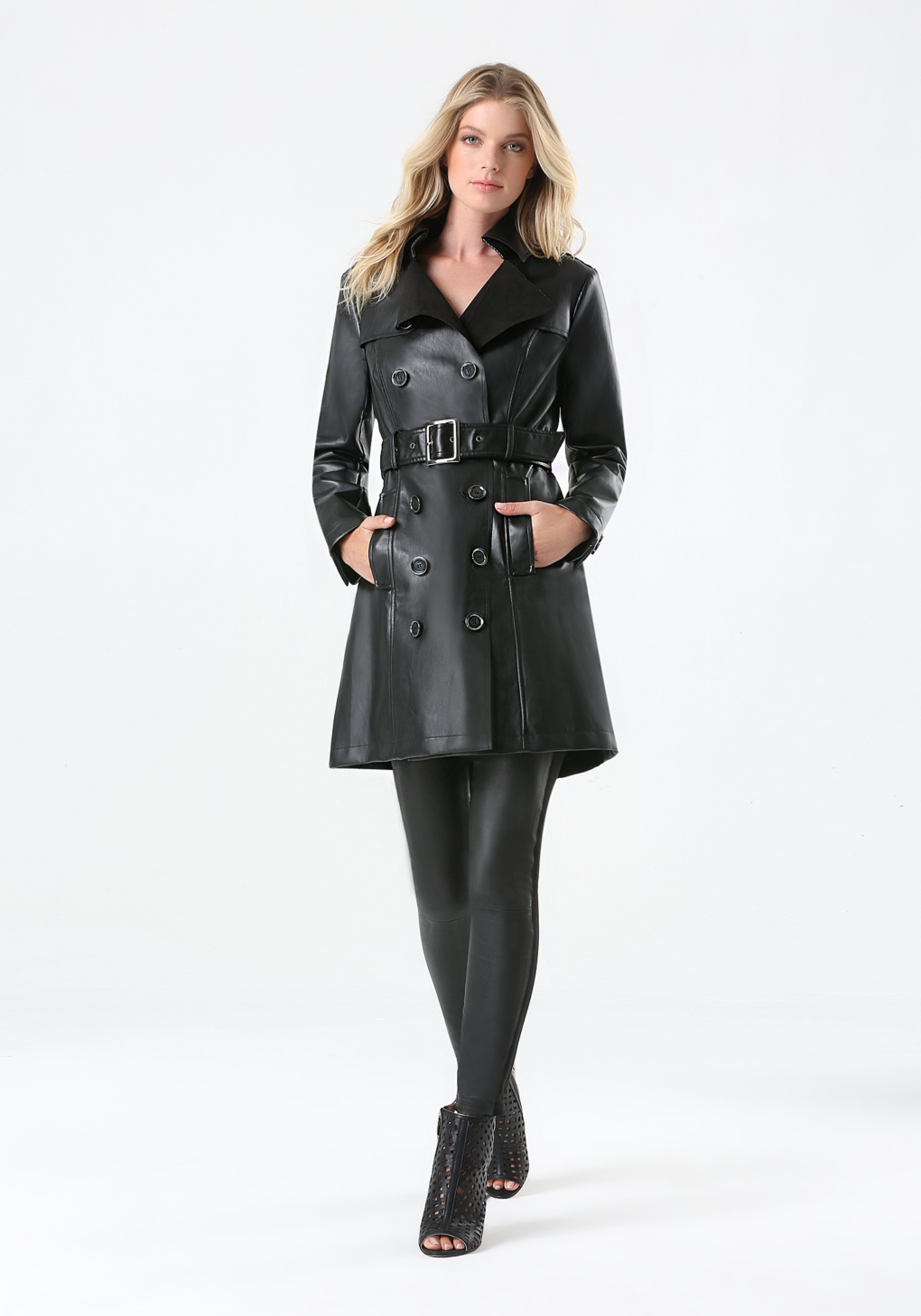 Bebe Faux Leather Trench Coat in Black | Lyst