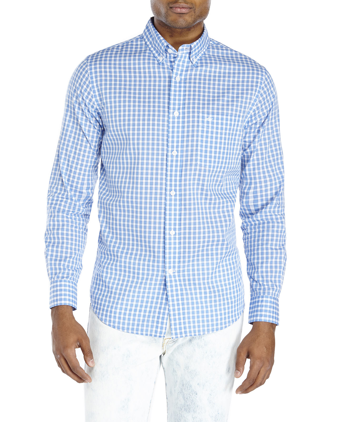 Dockers Gingham Button Down Shirt In Blue For Men Lyst