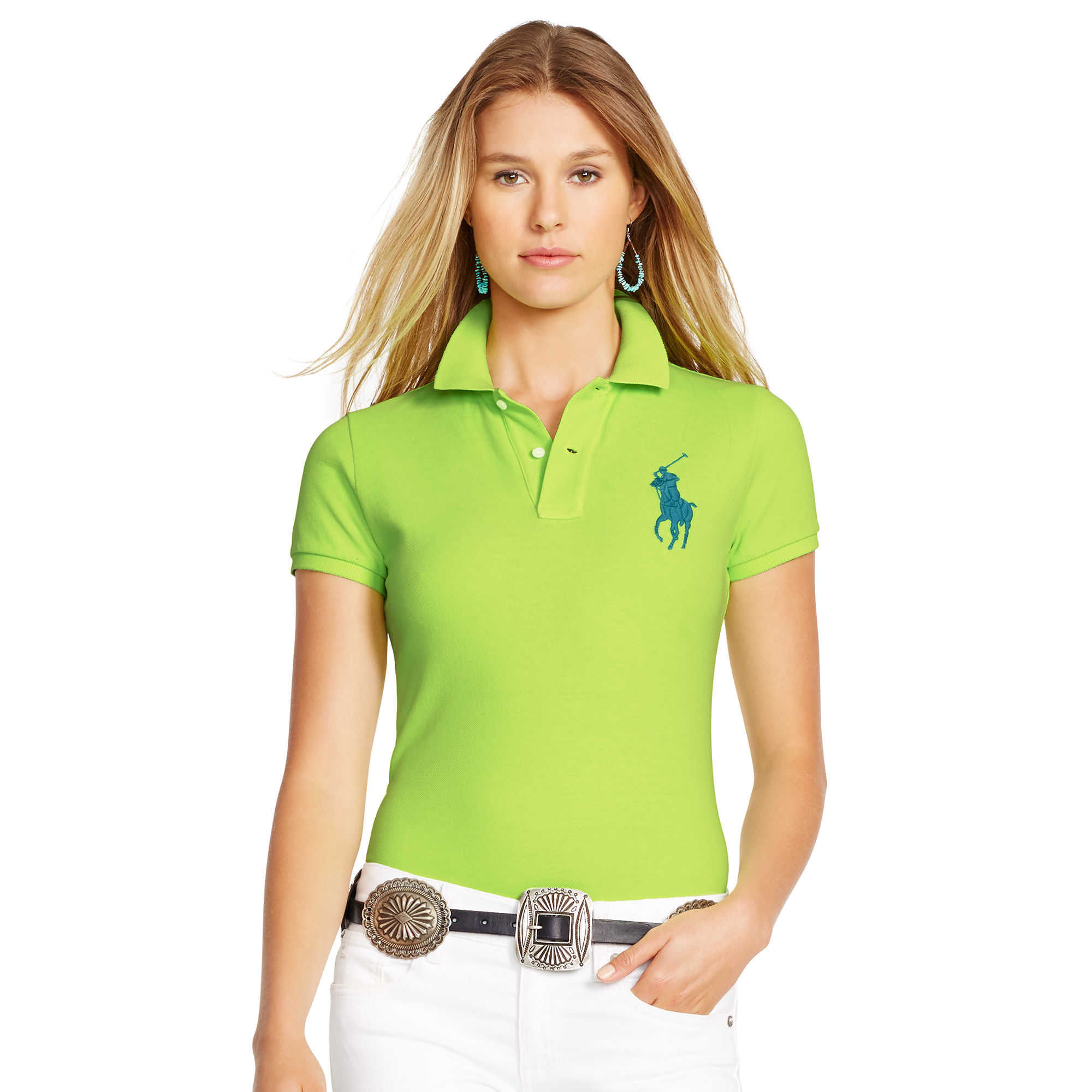1177ca53 Polo Ralph Lauren Green Skinny-fit Big Pony Polo Shirt